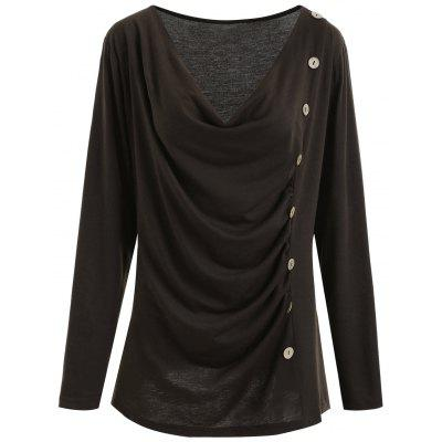 Plus Size Cowl Neck Button Embellished T-shirt