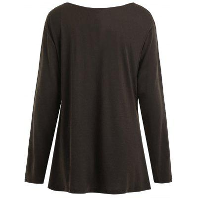 Plus Size Cowl Neck Button Embellished T-shirtPlus Size Tops<br>Plus Size Cowl Neck Button Embellished T-shirt<br><br>Collar: Cowl Neck<br>Embellishment: Button<br>Material: Polyester<br>Package Contents: 1 x T-shirt<br>Pattern Type: Solid<br>Season: Spring, Fall<br>Shirt Length: Regular<br>Sleeve Length: Full<br>Style: Fashion<br>Weight: 0.3050kg