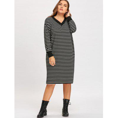Plus Size Stripe Long Sleeve Baggy DressPlus Size Dresses<br>Plus Size Stripe Long Sleeve Baggy Dress<br><br>Dresses Length: Mid-Calf<br>Material: Cotton Blend, Polyester<br>Neckline: V-Neck<br>Package Contents: 1 x Dress<br>Pattern Type: Striped<br>Season: Winter, Fall<br>Silhouette: A-Line<br>Sleeve Length: Long Sleeves<br>Style: Casual<br>Weight: 0.6800kg<br>With Belt: No
