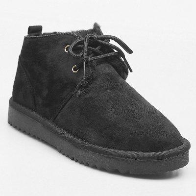 Buy BLACK 39 Flat Faux Suede Ankle Boots for $37.10 in GearBest store