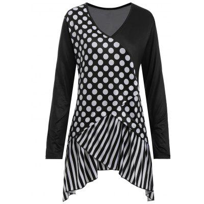 Buy BLACK 2XL Polka Dot Striped Asymmetrical Plus Size T-shirt for $20.13 in GearBest store