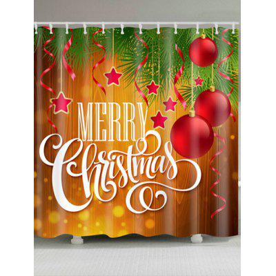 Christmas Ornaments Letter Print Waterproof Shower Curtain