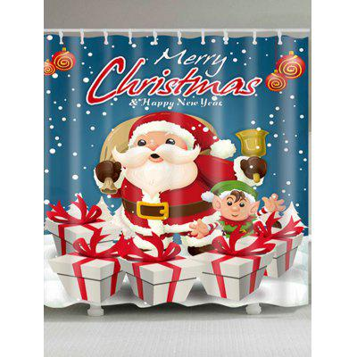 Santa Claus Christmas Gift Print Waterproof Bath Curtain