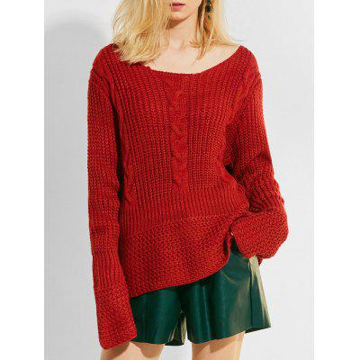 Cable Knit Panel Chunky Pullover Sweater