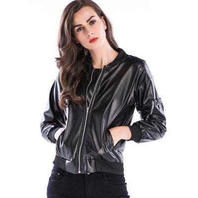 Short Faux Leather Zip Up JacketJackets &amp; Coats<br>Short Faux Leather Zip Up Jacket<br><br>Clothes Type: Jackets<br>Collar: Stand-Up Collar<br>Material: Polyester<br>Package Contents: 1 x Jacket<br>Pattern Type: Solid<br>Season: Fall, Winter<br>Shirt Length: Short<br>Sleeve Length: Full<br>Style: Fashion<br>Type: Slim<br>Weight: 0.6200kg