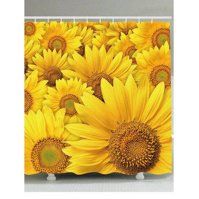 Sunflowers Pattern Showerproof Bathroom Curtain