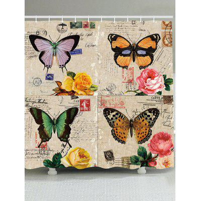 Retro Butterflies Pattern Waterproof Shower Curtain