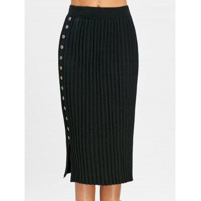 Side Buttoned Knitted Midi SkirtSkirts<br>Side Buttoned Knitted Midi Skirt<br><br>Embellishment: Button<br>Length: Mid-Calf<br>Material: Acrylic, Cotton, Polyester, Spandex<br>Package Contents: 1 x Skirt<br>Pattern Type: Solid<br>Silhouette: Pencil<br>Weight: 0.4600kg<br>With Belt: No