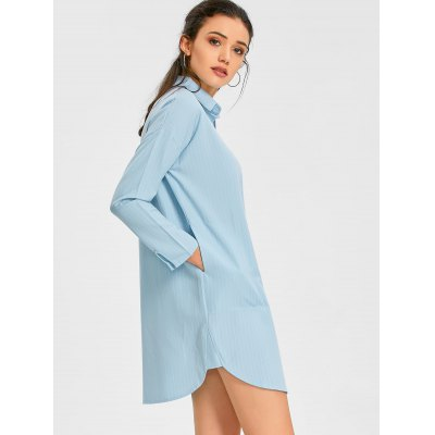 Vertical Stripe Shirt Dress with PocketWomens Dresses<br>Vertical Stripe Shirt Dress with Pocket<br><br>Dress Type: Shirt Dress<br>Dresses Length: Mini<br>Embellishment: Pockets<br>Material: Polyester<br>Neckline: Shirt Collar<br>Occasion: Day, Causal<br>Package Contents: 1 x Dress<br>Pattern Type: Striped, Print<br>Season: Spring, Winter, Fall<br>Silhouette: Straight<br>Sleeve Length: Long Sleeves<br>Sleeve Type: Drop Shoulder<br>Style: Casual<br>Waist: Natural<br>Weight: 0.4400kg<br>With Belt: No