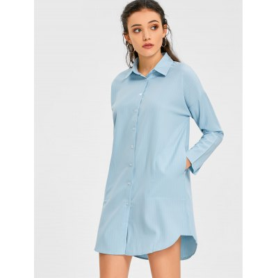 Robe Chemise à Rayures Verticales avec Poches