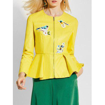 Faux Leather Zip Up Ruffles Jacket