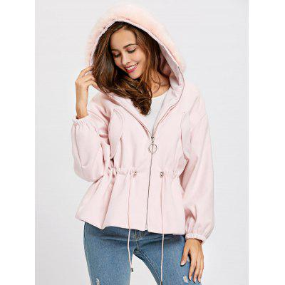 Textured Hooded Drawstring Zip Up Jacket