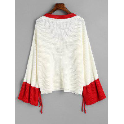 V Neck Two Tone Drawstring Sleeve SweaterSweaters &amp; Cardigans<br>V Neck Two Tone Drawstring Sleeve Sweater<br><br>Collar: V-Neck<br>Material: Acrylic, Cotton, Polyester<br>Package Contents: 1 x Sweater<br>Pattern Type: Patchwork<br>Sleeve Length: Full<br>Style: Fashion<br>Type: Pullovers<br>Weight: 0.4500kg