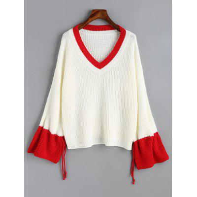 V Neck Two Tone Drawstring Sleeve Sweater