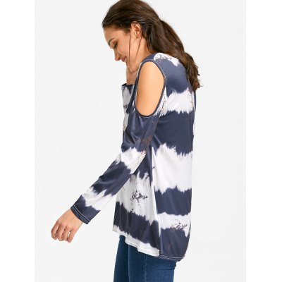 Striped Tie-dyed Printed Cold Shoulder T-shirtTees<br>Striped Tie-dyed Printed Cold Shoulder T-shirt<br><br>Collar: Scoop Neck<br>Elasticity: Elastic<br>Material: Polyester, Spandex<br>Package Contents: 1 x T-shirt<br>Pattern Type: Print, Tie Dye<br>Seasons: Autumn,Spring,Spring/Fall,Winter<br>Shirt Length: Regular<br>Sleeve Length: Full<br>Sleeve Type: Cold Shoulder<br>Style: Casual<br>Weight: 0.2200kg