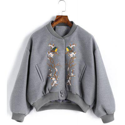 Embroidered Snap Button Wool Blend Jacket