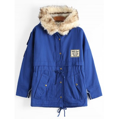 Buy DEEP BLUE Faux Fur Trim Hooded Shearling Patchwork Coat for $52.99 in GearBest store