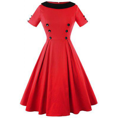 Buy RED S Vintage Two Tone Button Embellished A Line Dress for $27.16 in GearBest store