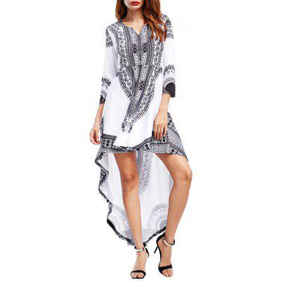 Buy WHITE L Tribal Print High Low Maxi Party Dress for $25.87 in GearBest store