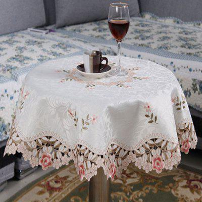 Buy PINK Round Embroidered Jacquard Polyester Kitchen Table Cloth for $12.94 in GearBest store