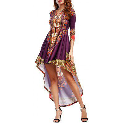 Buy PURPLISH RED L Tribal Print High Low Maxi Party Dress for $25.87 in GearBest store