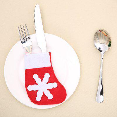 10Pcs Mini Christmas Sock Shape Knife And Fork Bags