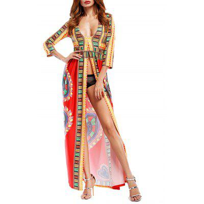 Buy RED L Plunging Neckline Tribal Print High Slit Maxi Dress for $28.90 in GearBest store