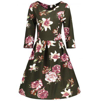Buy LAWN L Vintage Floral Printed Skater Fit and Flare Dress for $22.26 in GearBest store