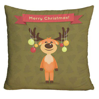 Christmas Cartoon Elk Print Decorative Pillow Case