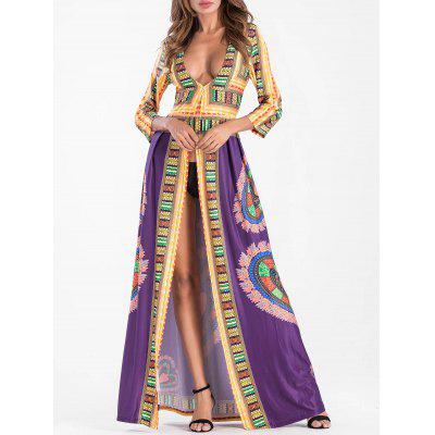 Buy PURPLE XL Plunging Neckline Tribal Print High Slit Maxi Dress for $28.90 in GearBest store