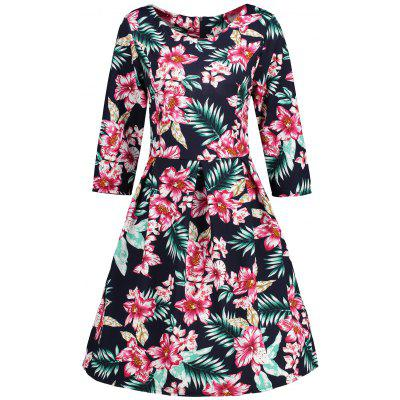 Buy BLACK M Vintage Floral Printed Skater Fit and Flare Dress for $22.26 in GearBest store