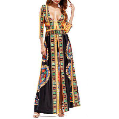 Buy BLACK 2XL Plunging Neckline Tribal Print High Slit Maxi Dress for $28.90 in GearBest store