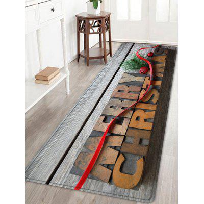 Wood Merry Christmas Pattern Water Absorption Area Rug