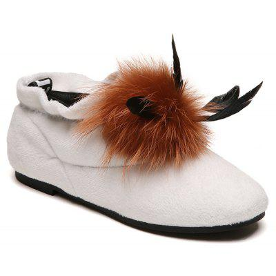 Round Toe Flat Heel Fake Fur Ankle Boots