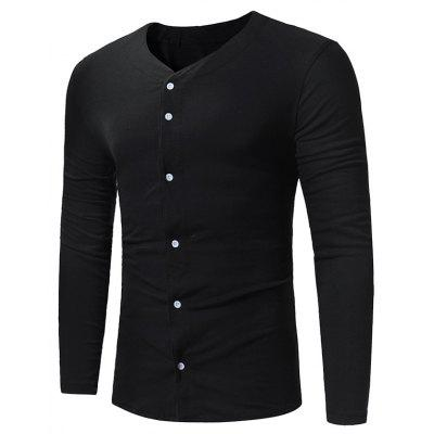 V-Ausschnitt Button Up Langarm T-Shirt