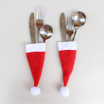 12 Pieces Christmas Hat Knife And Fork Bags Suit