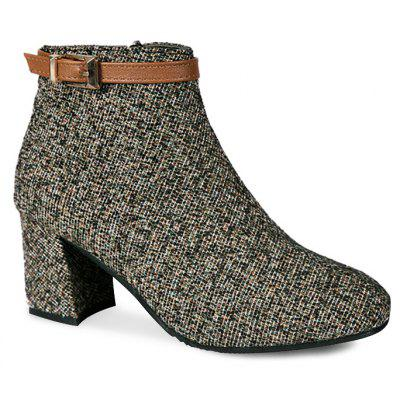 Buckle Strap Accent Block Heel Ankle Bootd