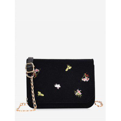 Buy BLACK Embroidery Flowers Chain Crossbody Bag for $22.83 in GearBest store