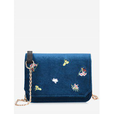 Buy BLUE Embroidery Flowers Chain Crossbody Bag for $22.83 in GearBest store