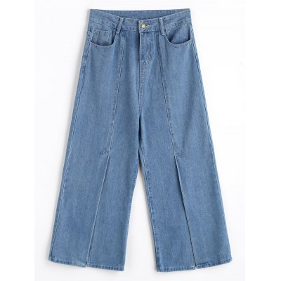 Buy DENIM BLUE M Front Slit Wide Leg Jeans for $28.26 in GearBest store