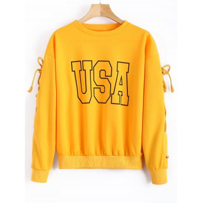 Sweat-shirt à Lettre USA à Lacets