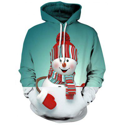 Snowman 3D Print Christmas Pullover Hoodie snowman print pullover christmas hoodie