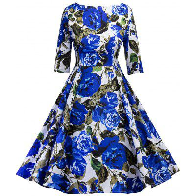 Buy BLUE L Vintage Floral Print Cut Out Pin Up Party Dress for $25.91 in GearBest store