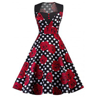 Buy BLACK M Vintage Floral Print Polka Dot Pin Up Dress for $26.19 in GearBest store
