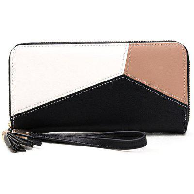 Color Block Tassel Geometric Clutch Wallet