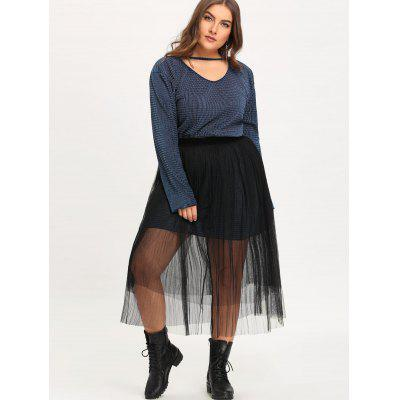 Plus Size Choker Velvet Dress with Voile SkirtPlus Size Dresses<br>Plus Size Choker Velvet Dress with Voile Skirt<br><br>Dresses Length: Knee-Length<br>Embellishment: Cut Out<br>Material: Cotton Blend, Polyester<br>Neckline: V-Neck<br>Package Contents: 1 x Dress 1 x Skirt<br>Pattern Type: Solid Color<br>Season: Fall, Winter<br>Silhouette: Sheath<br>Sleeve Length: Long Sleeves<br>Style: Casual<br>Weight: 0.6300kg<br>With Belt: No