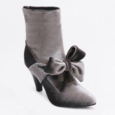 Pointed Toe Cone Heel Bow Boots