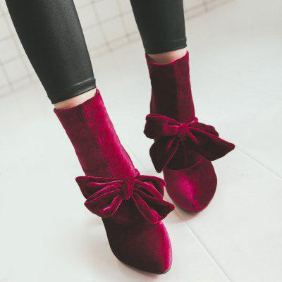 Pointed Toe Cone Heel Bow BootsWomens Boots<br>Pointed Toe Cone Heel Bow Boots<br><br>Boot Height: Ankle<br>Boot Type: Fashion Boots<br>Closure Type: Slip-On<br>Gender: For Women<br>Heel Height Range: Low(0.75-1.5)<br>Heel Type: Cone Heel<br>Package Contents: 1 x Boots (pair)<br>Pattern Type: Bowknot<br>Season: Spring/Fall, Winter<br>Shoe Width: Medium(B/M)<br>Toe Shape: Pointed Toe<br>Upper Material: Suede<br>Weight: 1.1200kg