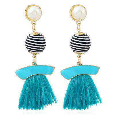 Striped Ball Tassel Drop Earrings