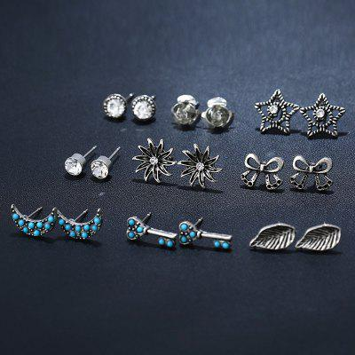 Sun Moon Star Leaf Bows Key Stud Earring SetEarrings<br>Sun Moon Star Leaf Bows Key Stud Earring Set<br><br>Earring Type: Stud Earrings<br>Gender: For Women<br>Material: Rhinestone<br>Package Contents: 9 x Earrings (Pair)<br>Shape/Pattern: Star<br>Style: Trendy<br>Weight: 0.0200kg